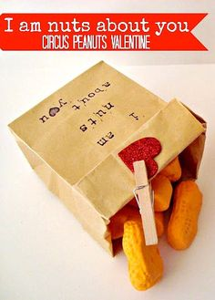 I am Nuts About You (Circus Peanuts Valentine idea) #DIY #Valentine