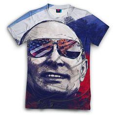 Мужская футболка с полной запечаткой Путин