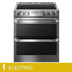 LGSIGNATURE Smart Wi-Fi Enabled Smooth Surface-Element ft / ft Self-Cleaning Double Oven True Convection True Convection Electric Range (Textured Steel) (Common: Actual: Double Oven Electric Range, Gas Double Oven, Gas Oven, Electric Stove, Double Ovens, Kitchenette, Cleaning Oven Racks, Slide In Range, Food Temperatures