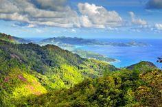 Holidays On Paradise Islands Seychelles Islands, Drupal, Paradise Island, Nature Scenes, Trip Planning, Golf Courses, Mountains, World, Beach