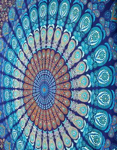 Blue Dorm Mandala Tapestry Tapestries Wall by JaipurHandloom 2 of these and make into curtains for sun room!