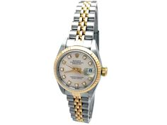 18k Yellow Gold and Stainless Steel Jubilee Band. Silver Diamond Dial. #31670