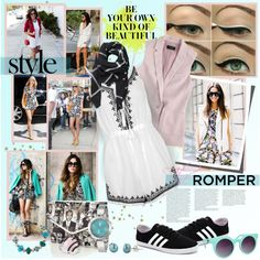 Romper With Vest Blazer by stacey-lynne on Polyvore featuring J.Crew, Topshop, adidas NEO, Nine West, Bridge Jewelry, Allurez, Honora, Witchery, Quay and Mercedes-Benz