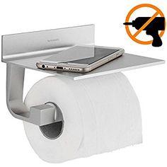 Wangel Toilettenpapierhalter Ohne Bohren, Patentierter Kleber +  Selbstklebender 3M Kleber, Aluminium, Matte
