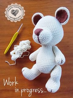 Amigurumi Bear Pattern Crochet Bear Pattern b Crochet Teddy Bear Pattern, Crochet Bunny, Crochet Animals, Crochet Dolls, Amigurumi Doll, Amigurumi Patterns, Crochet Patterns, Diy Crafts Crochet, Crochet Projects
