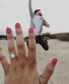 This is the perfect double halo engagement ring, and that might be the happiest fiance ever!