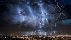 ONE OF THE BEST WEATHER PICTURES FOR 2013 - HUGE LIGHTNING STORM OVER CITY!