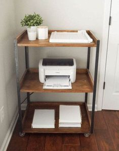 home office decor This Industrial DIY Printer Cart is simple to build yourself and is so pretty and functional Office Inspiration, Home Office Space, Easy Home Decor, Decor, Home Organization, Home Diy, Home Office Organization, Home Office Decor, Home Decor