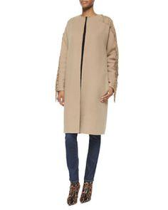 W05PB Ralph Lauren Collection Cashmere-Blend Fringe-Trimmed Collarless Coat