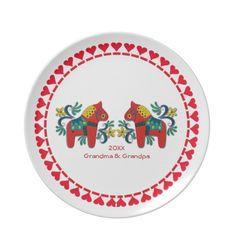 Swedish Dala Horses Personalized Scandinavian Plate