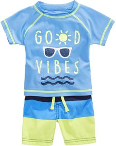 03489cdf6c First Impressions 2-Pc. Good Vibes Rash Guard & Swim Trunks Set, Baby Boys,  Created for Macy's & Reviews - Swimwear - Kids - Macy's