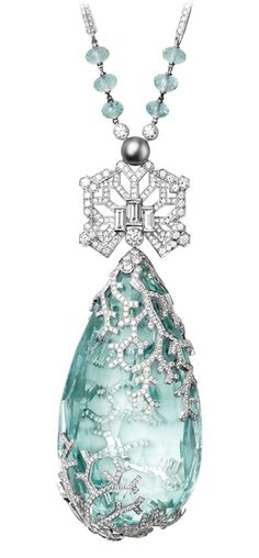 Cartier Biennale Necklace in platinum, featuring a 236.27ct aquamarine, via The Jewellery Editor.