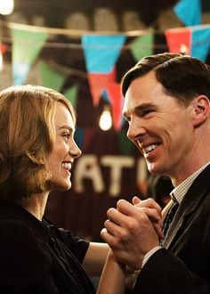 """"""" Keira Knightley as Joan Clarke and Benedict Cumberbatch as Alan Turing in the upcoming movie The Imitation Game (x) """""""