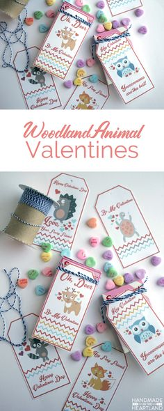 Woodland Animal Valentine Tags, free printable valentines for gifts or to attach to candy!