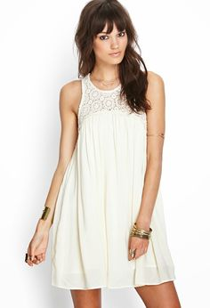 Flowy and free, this babydoll dress features a crochet yoke and buttoned keyhole back. Complete with a round neckline, pair this number with gladiator sandals and some arm candy for a chic look with minimal effort. Dress Skirt, Dress Up, Swing Dress, Girl Fashion, Fashion Dresses, White Fashion, White Dresses For Women, Babydoll Dress, Casual Looks
