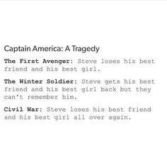 And then gets his best friend and a new best girl in Civil War.  I'm sorry. But this is so sad.