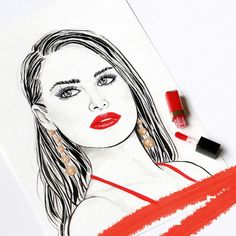 Fashionillustration of a beautiful girl with red Chanel gloss lips.