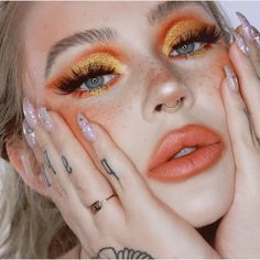 orange glam makeup tutorial / holiday look 2018 Make up 🎨Orange Glam Makeup Tutorial Glam Makeup, Skin Makeup, Makeup Inspo, Makeup Art, Makeup Inspiration, 80s Makeup, Clown Makeup, Costume Makeup, Hippy Makeup