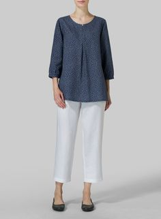 Белье с длинным рукавом Перевернутый передняя Pleat Блуза - Плюс размер