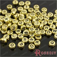 (28959)Diy Jewelry Accessories,7*3.8MM Gold color plated Acrylic Alphabet Letter Beads 50g,about 360PCS