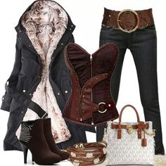 LOVE the jacket! Boots, belt, and jeans are cute. Not digging the corset but the purse is ok.