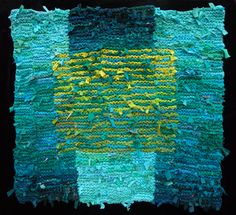 Teal & Olive Floating Square Rag Rug x Knit Rug, Knitted Fabric, Textiles Techniques, Shades Of Teal, Striped Rug, Textile Artists, Rug Hooking, Woven Rug, Fabric Art