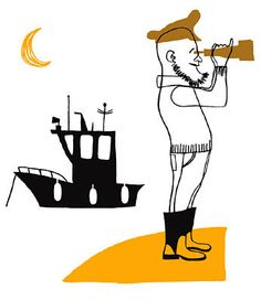 by Klas Fahlen. The choice to make the hat and binoculars transparent slays me. SLAYS ME! Yellow boots, yellow moon. Negative buoys. Ahoy, awesome!