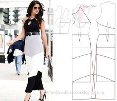 Modelagem de vestido com recortes. Fonte: https://www.facebook.com/photo.php?fbid=709320922430182&set=a.262773027084976.75978.143734568988823&type=1&theater