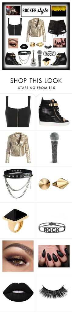 """🎤Rocker Style🎤"" by adoremyeverything ❤ liked on Polyvore featuring WearAll, Giuseppe Zanotti, Sans Souci, Eddie Borgo, Kenneth Jay Lane, Spallanzani, Lime Crime, rockerchic and rockerstyle"