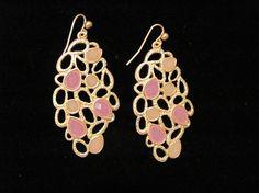 pink and beige golden earrings.  #dmsstudio