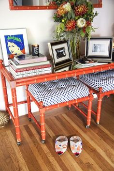 Chic Peek Takes San Francisco: Zynga's Dani Dudeck on How to DIY at Home and Score Epic Vintage Finds! Painted Bamboo, Faux Bamboo, Orange Paint Colors, Bamboo Furniture, I Coming Home, Chinoiserie Chic, Sweet Home, San Francisco, New Homes