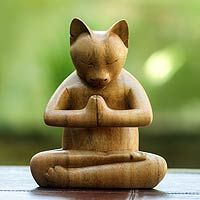 Crafted Wood Sculpture from Indonesia, 'Toward the Sky Brown Yoga Cat' Wood sculpture, 'Kitty Cat Prayer' - Carved Suar Wood SculptureWood sculpture, 'Kitty Cat Prayer' - Carved Suar Wood Sculpture Yoga Gato, Meditation Gifts, Meditation Prayer, Wood Cat, Wood Animal, Cat Decor, Cat Sitting, Handmade Home Decor, Wood Sculpture