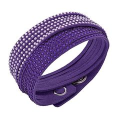 Swarovski Slake Purple 2 in 1 Bracelet ($69) ❤ liked on Polyvore featuring jewelry, bracelets, purple jewellery, swarovski bangle, adjustable bangle, purple jewelry and swarovski jewelry