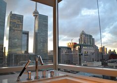 Shangri-La Hotel Toronto - Bathroom with a view Quay West, Music Garden, Capital Of Canada, Brookfield Place, Toronto Island, Royal Ontario Museum, Shangri La Hotel, University Of Toronto, City Chic