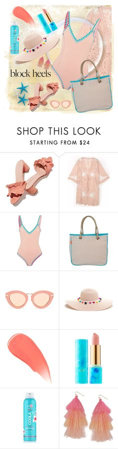 """""""Block Heels"""" by loveroses123 ❤ liked on Polyvore featuring Loeffler Randall, kiini, CB Station, Karen Walker, Burberry, tarte, COOLA Suncare and Humble Chic"""