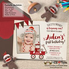 Red Wagon Sock Monkey Birthday Party Photo Printable Invitations - Printable DIY Invitation - Personalized Invite card DIY party printables will save you time and money while making your planning a snap!