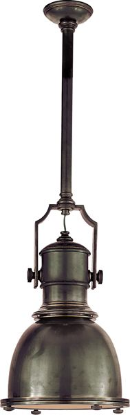 """GET > Sandy Chapman Country Industrial Pendant with Metal Shade Bronze 14"""""""