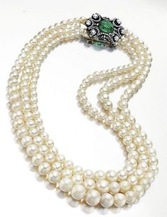 Sotheby's, 2004, from the Baroda collection:  A 17.5-inch, three-strand natural pearl necklace comprising 61, 58 and 61 natural pearls, measuring from approximately 4.95 to 11.05 mm sold for $1.1 million.