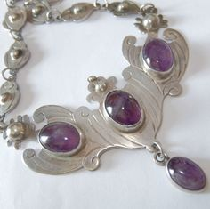 BIG VINTAGE ART DECO OLD MEXICO STERLING SILVER AMETHYST NECKLACE #Unbranded #Statement
