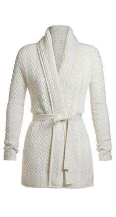 TSE Resort 2013 Collection  Basketweave Cashmere Belted Cardigan Base Color