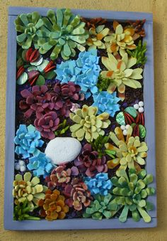 """18""""x12"""" hanging succulent garden . Stained glass mosaic , coral and aquarium rocks"""