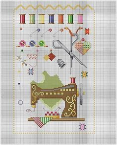 Cross-stitch Sewing Stuff  ... no color chart available, just use the pattern chart as your color guide.. or choose your own colors...