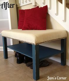 IKEA lack table to bench tutorial change style and use for bench in  Jakes room
