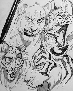 Some more big cat sketches. #art #artist #artwork #artstagram #vixiearts #2d…