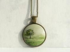 Hand Painted Tree Necklace Landscape Tree Fog Landscape by ARTDORA, $29.00