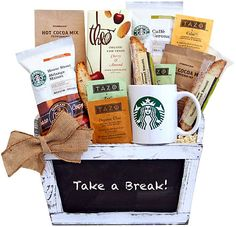 Starbucks Take A Break! Coffee Gift Basket-Starbucks Take a Break! Coffee Gift BasketsLet Starbucks take you on a relaxing mini-escape. Take a few moments out of a busy morning or afternoon to breathe. This delightful white-washed chalkboard containe Starbucks Gift Baskets, Coffee Gift Baskets, Coffee Hampers, Tea Gifts, Coffee Gifts, Gourmet Gifts, Food Gifts, Fathers Day Gift Basket, Basket Gift