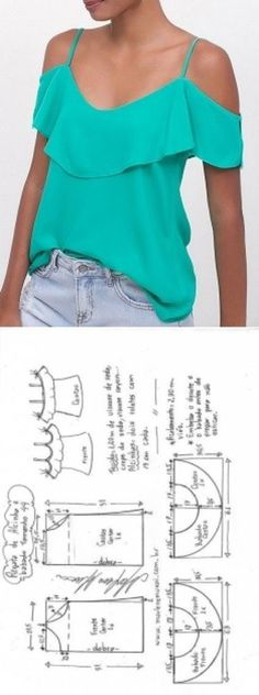 Sewing Blusas Blusa regata de alcinha com babado ombro a ombro Diy Clothing, Clothing Patterns, Dress Patterns, Sewing Patterns, Sewing Blouses, Sewing Shirts, T Shirt Yarn, Diy Shirt, Diy Vetement