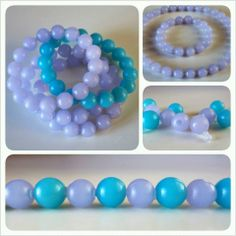 """* VINTAGE BANGLES/NECKLACE! *  Lilac length: 63,5 cm – 25"""" Sky blue length: 23 cm – 9""""  You can do as you want: 4 bangles, or 2 bangles and 1 necklace, or mix together lilac & sky blue! All together € 18 plus p&p"""