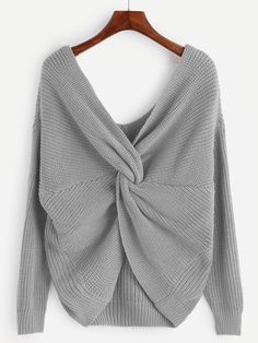 Jersey con cuello en V anudado - gris-Spanish SheIn(Sheinside)