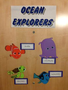 """Creative suite style Disney themed door decs. From the movie """"Finding Nemo"""". (decor dec name tag ra dorm reslife) By RA Austin Grant (1/7)"""